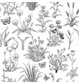 seamless black and white pattern with hand drawn vector image