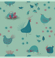 seamless pattern with chickens and flowers vector image