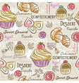 Seamless Patterns with different sweetmeats vector image