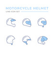 set color line icons motorcycle helmet vector image vector image