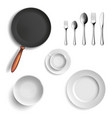 set of ceramic plates and utensils vector image