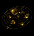 shine golden solar system with hand drawn planets vector image