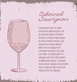 template with hand drawn wine glass vector image vector image
