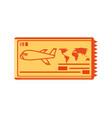 ticket airplane travel icon vector image