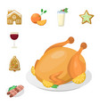 traditional christmas food and desserts holiday vector image vector image