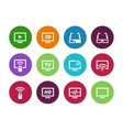 TV circle icons on white background vector image vector image