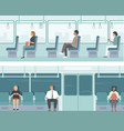 urban public transport with passengers vector image