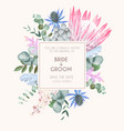 vintage wedding card with flowers and greenery vector image vector image