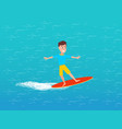water transport and male on surfing board vector image