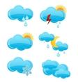 web cloud symbols set blue color vector image vector image