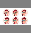woman avatar people facial emotions emo vector image vector image