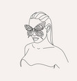 woman face with butterfly line art female hands w