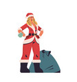 woman in santa claus costume standing near sack vector image