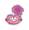 woman mouth with speech bubble pop art style vector image vector image