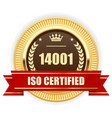 iso 14001 certified medal - environmental vector image