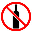 sign of prohibition of alcoholic beverages vector image