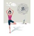 Woman Practicing Yoga Tree Asana vector image