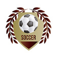 an isolated heraldry shield with text a soccer vector image vector image