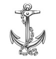 anchor and chains tattoo in engraving style vector image vector image