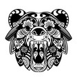 bear with flowers ornament for tattoo vector image