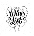 Black-white calligraphic retro wine list design vector image vector image