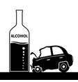 bottle with alcohol a car accident drunkenness vector image vector image