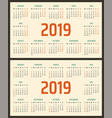 calendar for 2019 starts sunday and monday vector image vector image