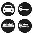 car wrecker icons set in circle button vector image