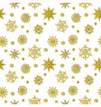 christmas hand drawn pattern with golden vector image