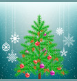 christmas tree and big hang snowflakes vector image vector image