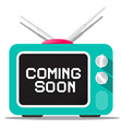 Coming Soon Sign on Retro TV Screen vector image vector image