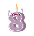 cute birthday candle number character eight vector image vector image