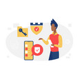 data protection safe network concept with man vector image
