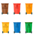different recycling garbage waste types sorting vector image vector image