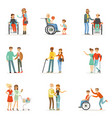 disabled people and friends helping them set for vector image vector image