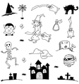 Doodle in element halloween cute and flat vector image vector image