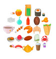 fish delicacy icons set cartoon style vector image