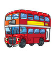 funny small london bus with eyes vector image