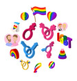 gays cartoon icons set vector image