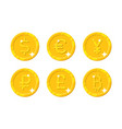 gold coins different currency vector image vector image