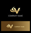 gold letter v business logo vector image