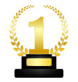 golden award on pedestal winner icon success vector image vector image