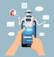 hands hold smartphone free chat bot robot virtual vector image vector image