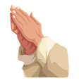 hands praying sign vector image vector image