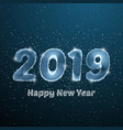 happy new year 2019 low poly circle poster blue vector image vector image