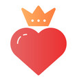 heart with crown flat icon valentines heart color vector image vector image