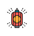 japanese lantern traditional lamp flat color line vector image vector image