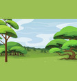 landscape with trees and hills vector image vector image
