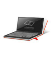 laptop e learning mockup realistic style vector image