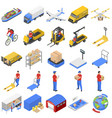 logistic delivery icons set isometric style vector image